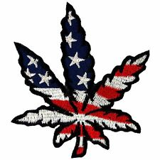 Marijuana Leaf Pot Weed Leaf USA Flag Hippie Ganja Embroidered Iron on Patch
