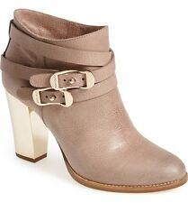 JIMMY CHOO Melba Grain Beige Leather Ankle Boots 36 Buckled Metal heel  Booties