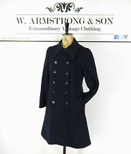 Women's 70's VINTAGE Navy Blue TRENCH COAT Double Breasted Swing Mod Boho UK 10