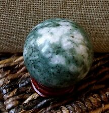 48mm Nat Moss Agate Healing Crystal Sphere Gemstone Ball 5.7oz anti-inflammatory