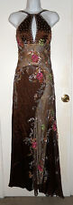vintage Dolce Jovani heavily beaded floral brown silk halter top maxi gown sz 4