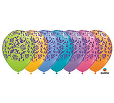 """Damask Latex Balloons, Party Event Decor, 11"""" Colorful Qualatex, Mothers Day 10p"""