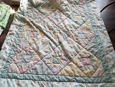 "Cottage Chic twin size comforter quilt blue, yellow, pink, and floral 64"" by 88"""