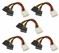 5 Pack TechByte Sata Power Y cable 4 Pin Molex to 2 x 15 Pin SATA Adapter 6 inch