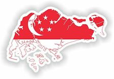 Sticker Silhouette Singapore Map Flag for Bumper Skateboard Locker Tablet