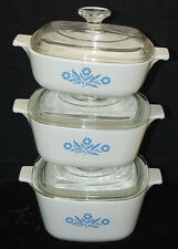 Vintage 6pc Corning Ware Blue Cornflower Casserole Dish Set w/ Lids [S6988]