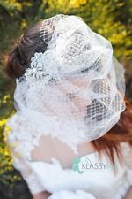 Ivory Crystal Rhinestone Flower Tulle and Ivory Bird Cage Veil