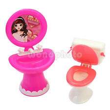 Stylish Toilet and Sink Set Bathroom Furniture Accessories for Doll's House