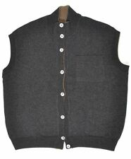 FEDELI Reversible Brown Gray THICK 100% CASHMERE Sweater Vest Mens EU 52 US 42