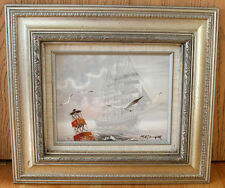 Original Oil Painting on Canvas - Sailing ship, Terns, Mist, Signed by Metzinger