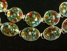 MURANO MILLIEIORI GLASS OVAL OR ROUND BRACELET  FITS 6 TO 8 INCH