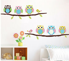 Home Decor Cute owl Cartoon children's room Removable Wall Stickers Decal QT10