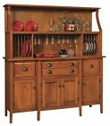 Amish Dining Room Country Hutch Buffet Server China Cabinet Solid Wood Rack