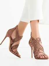 ZARA OPENWORK MAUVE LEATHER SANDALS - US 8, EURO 39