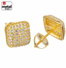 Mens Hip Hop Micro Pave 925 Silver Puff Dome Side CZ Screw Back Stud Earrings