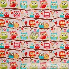 BonEful Fabric FQ Cotton Quilt Pink Blue White OWL Flower Baby Girl Green Leaf S