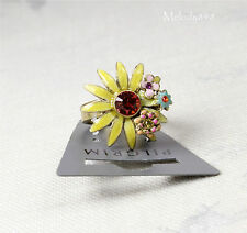 PILGRIM Adjustable Ring DAISY FLOWER Gold/Yellow/Pink Swarovski Enamel BNWT
