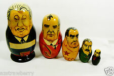 "VTG Past Russian Soviet Political Leaders Nesting Doll Matryoshka 5 pc set 6""L"