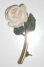 "Rose Pin Brooch marked ""silver"" painted glass rose with jade colored leaves D108"