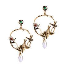 Leaves Birds Loop Pendant Drop Earrings Pearl Statement Hoop Antique Gold
