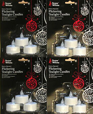 Dodici 12 SNOW WHITE CHRISTMAS lo sfarfallio CANDELINA TEA LIGHT CANDELE + Batterie