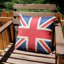 "Linen Home Decorative Cushion Cover Square 16"" Union Jack UK Flag Pillow Cases"