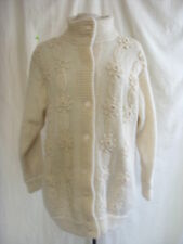 "Ladies Cardigan - Daisy Knits, L, 41"" bust, cream, mohair, beads/floral - 1514"