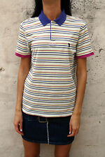 Trussardi Womens Stretch T-Shirt Short Sleeved Polo Shirt Striped Multi M Yellow