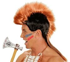 Red Indian Mohawk Wig Mohican Mens Fancy Dress Indian Brave Cowboys Fancy Dress