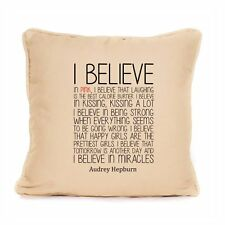 Audrey Hepburn Cushion Design I Believe Life Quote Inspirational Sofa Home Decor