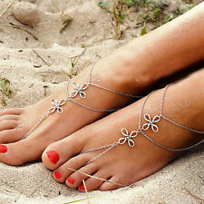 Women Sandal Multilayer Anklet Ankle Bracelet Barefoot Foot Chain Toe Ring GIfts
