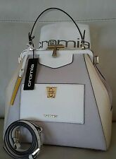 NWT CROMIA ITALY Purse Handbag Satchel clutch White Ivory Taupe Saffiano Leather