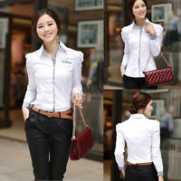 Sexy Womens Fashion Shrug Bubble Long Sleeve Slim Cotton Shirt Blouse Tops New