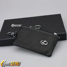 LEXUS Key Bag Holder 100% Genuine Cow Leather Remote Cover Fob Case Ring Chain