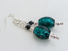 Lovely Green Glass Foil & Black Crystal Drop Dangle Pierced Earrings, UK Seller