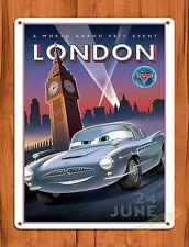 """TIN-UPS Walt Disney Tin Sign """"Cars London With Big Ben"""" Movie Ride Art Poster"""