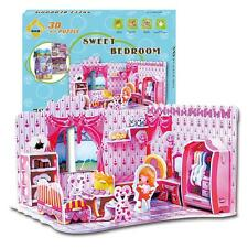 Paper Educational 3D Model Puzzle Jigsaw Sweet Bedroom DIY Toy