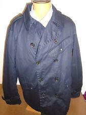 Ralph Lauren Black Label Waxed Cotton Double Breasted Peacoat NWT XXL $1195 Navy