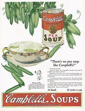 1920's BIG Old Vintage Campbell's Pea Soup Can Retro Kitchen Decor Art Print Ad