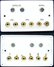 AV Wall Plate, 3 x F-type TV/Satellite & 6 x 4mm banana Speaker sockets