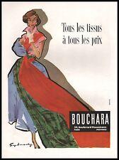 Publicité Tissus BOUCHARA Fabrics mode fashion  vintage  ad  1953 - 9i