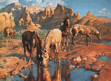Vintage art  Adam Styka Horses at Watering Hole