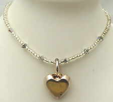 """Vintage 17"""" Clear Beaded Necklace w/ 3-D Heart Pendant Cute 925 Sterling Silver"""