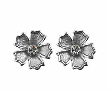 PRETTY  LADIES SILVER PLATED GREY ENAMEL AND CRYSTAL FLOWER STUD EARRINGS  AW16