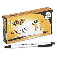Bic Clic Stic Retractable Ball Pens, Medium Point (1.0 mm), Black, 12 Pens