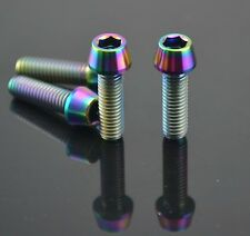 4pcs Ti Titanium M6x20mm Hex Allen Tapered Bolt Screw Rainbow Finish