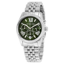 Michael Kors Lexington Chronograph Green Dial Stainless Steel Ladies Watch