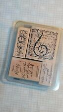 Stampin Up Musical Manuscript Set of 4 Rubber Stamps Beethoven Bach Mozart Clef
