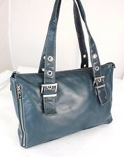 Perlina Teal Soft Leather Tote  Shopper Shoulder Bag Purse Handbag