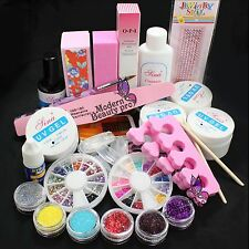 #168 Full Nail Art UV Gel Tips Kit Set Acrylic Glitter Powder Glue File French